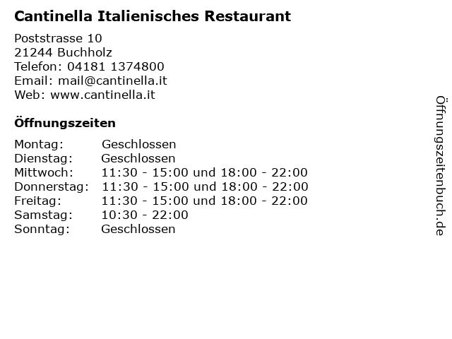 Cantinella Italienisches Restaurant in Buchholz: Adresse und Öffnungszeiten