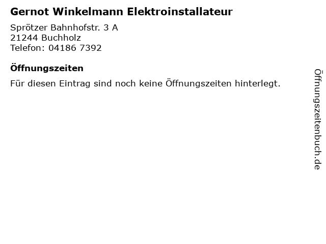 Gernot Winkelmann Elektroinstallateur in Buchholz: Adresse und Öffnungszeiten