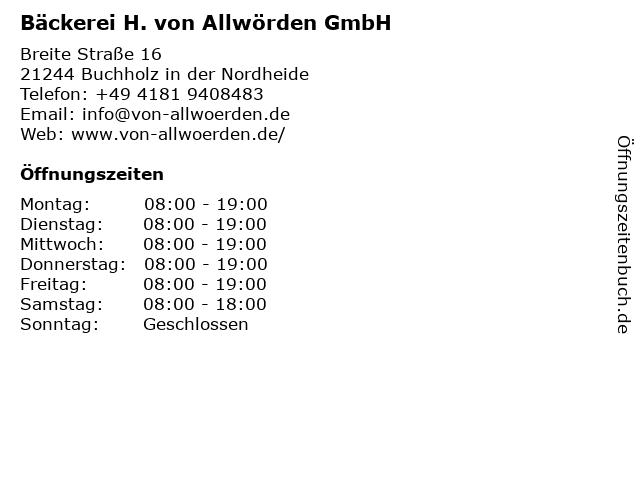 H. von Allwörden GmbH in Buchholz: Adresse und Öffnungszeiten