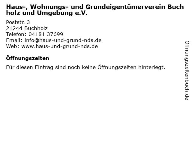 Haus-, Wohnungs- und Grundeigentümerverein Buchholz und Umgebung e.V. in Buchholz: Adresse und Öffnungszeiten