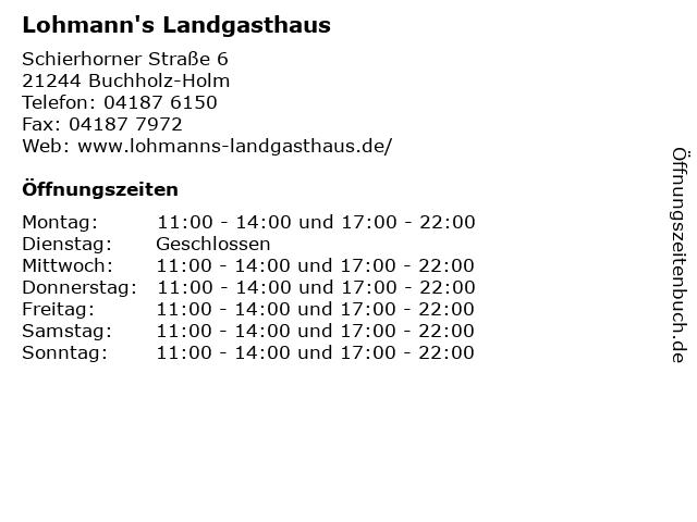 Lohmann's Landgasthaus in Buchholz-Holm: Adresse und Öffnungszeiten
