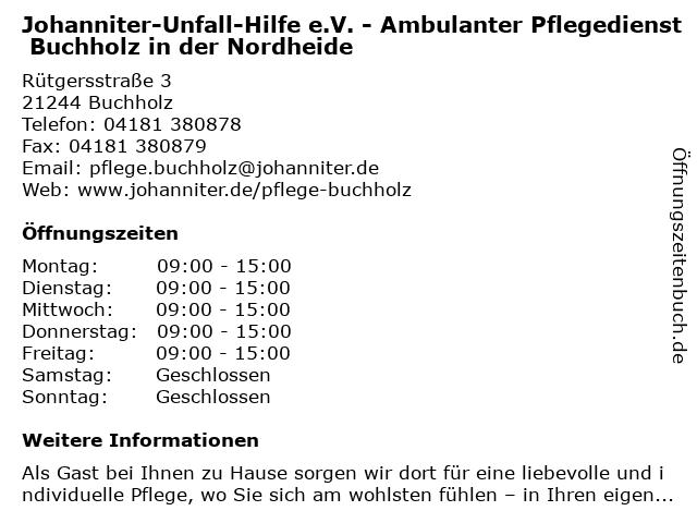 Johanniter-Unfall-Hilfe e.V. Regionalverband Harburg Ortsverband Buchholz in Buchholz: Adresse und Öffnungszeiten