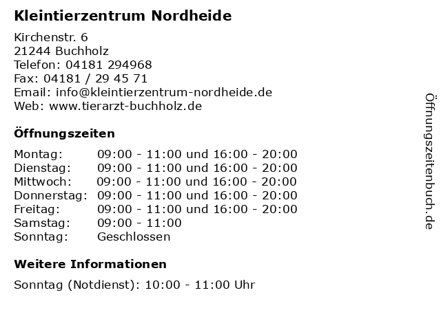 Kleintierzentrum Nordheide in Buchholz: Adresse und Öffnungszeiten