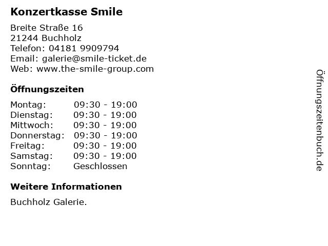 Konzertkasse Smile in Buchholz: Adresse und Öffnungszeiten