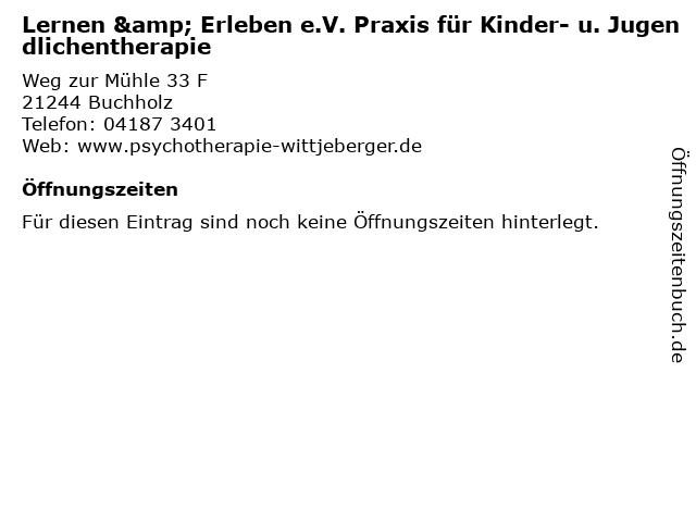 Lernen & Erleben e.V. Praxis für Kinder- u. Jugendlichentherapie in Buchholz: Adresse und Öffnungszeiten