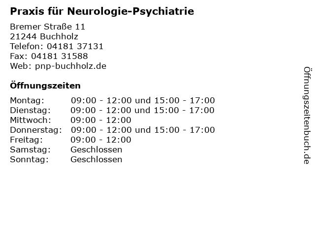 Praxis für Neurologie-Psychiatrie in Buchholz: Adresse und Öffnungszeiten