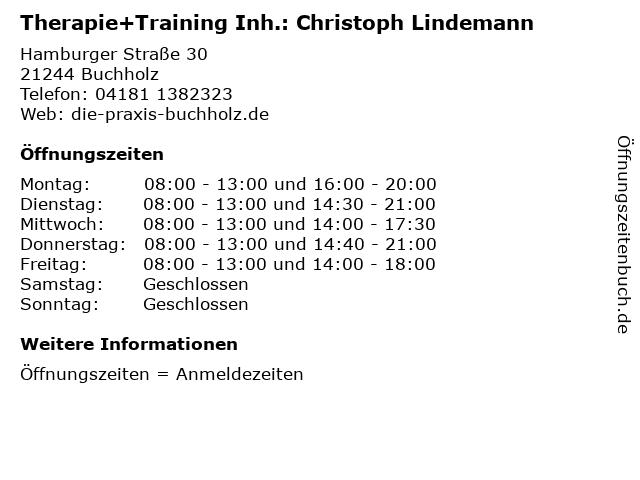 Therapie+Training Inh.: Christoph Lindemann in Buchholz: Adresse und Öffnungszeiten