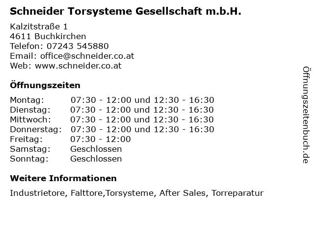 Schneider Torsysteme Gesellschaft m.b.H. in Buchkirchen: Adresse und Öffnungszeiten