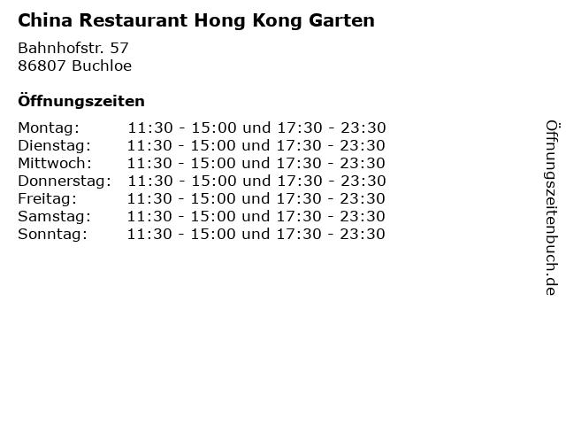 China Restaurant Hong Kong Garten in Buchloe: Adresse und Öffnungszeiten