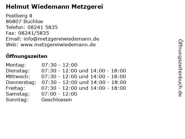 Helmut Wiedemann Metzgerei in Buchloe: Adresse und Öffnungszeiten