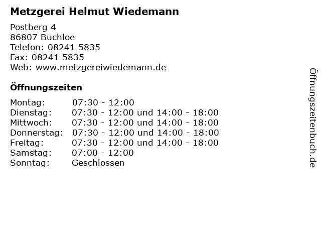 Metzgerei Helmut Wiedemann in Buchloe: Adresse und Öffnungszeiten