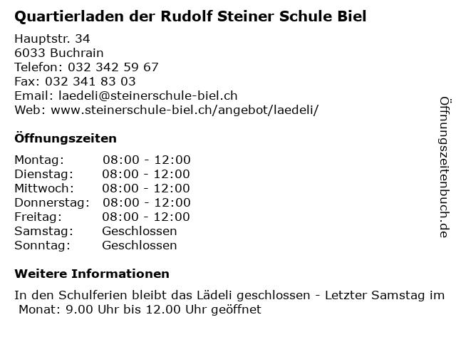 Quartierladen der Rudolf Steiner Schule Biel in Buchrain: Adresse und Öffnungszeiten