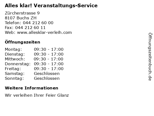 Alles klar! Veranstaltungs-Service in Buchs ZH: Adresse und Öffnungszeiten