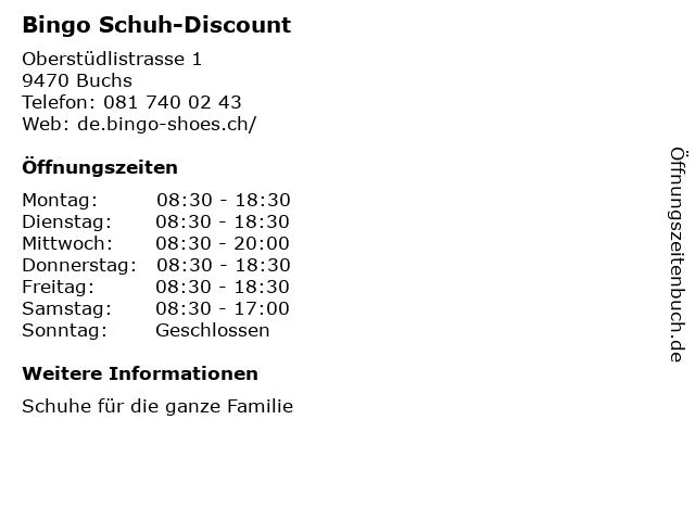Bingo Schuh-Discount in Buchs: Adresse und Öffnungszeiten