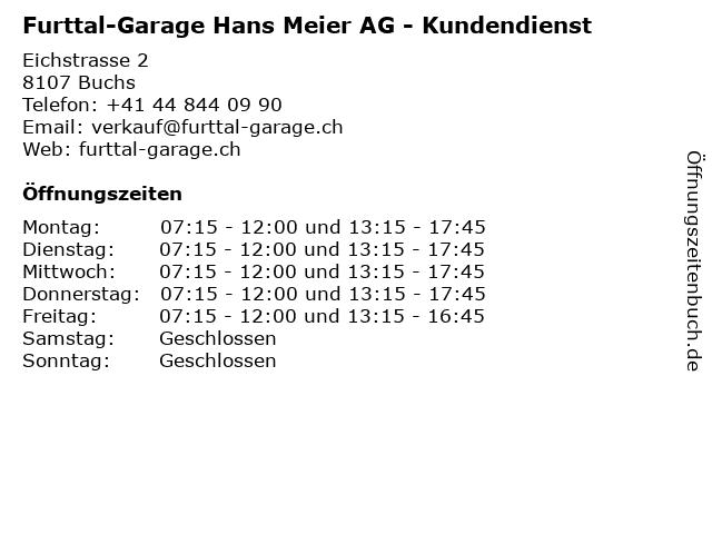 Furttal-Garage Hans Meier AG - Kundendienst in Buchs: Adresse und Öffnungszeiten