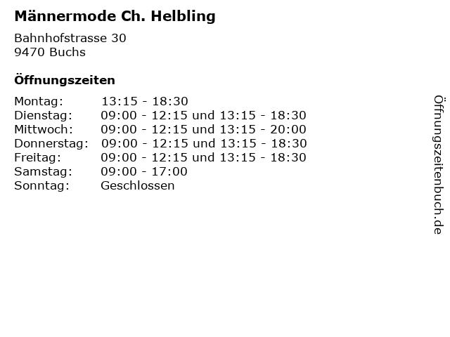 Männermode Ch. Helbling in Buchs: Adresse und Öffnungszeiten