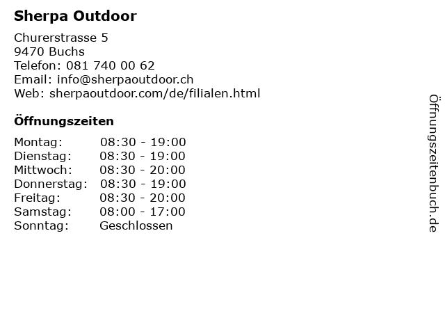 Sherpa Outdoor in Buchs: Adresse und Öffnungszeiten