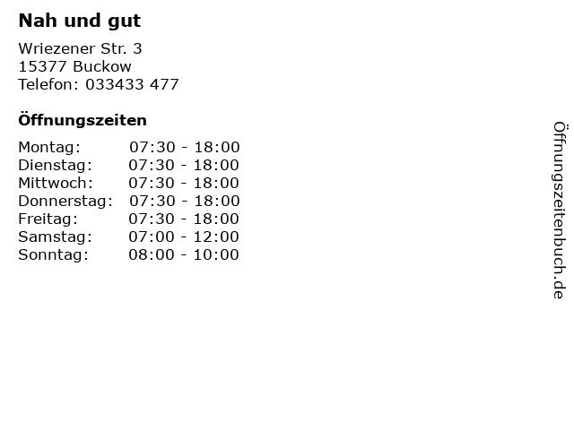 Nah und gut in Buckow: Adresse und Öffnungszeiten