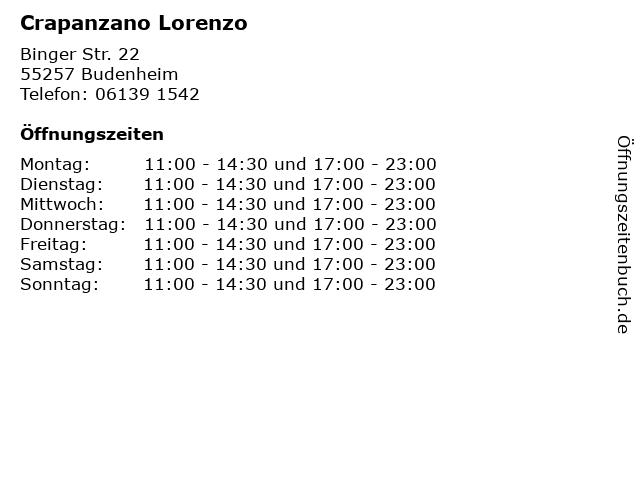 Crapanzano Lorenzo in Budenheim: Adresse und Öffnungszeiten