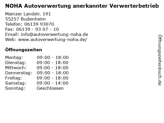 NOHA Autoverwertung anerkannter Verwerterbetrieb in Budenheim: Adresse und Öffnungszeiten