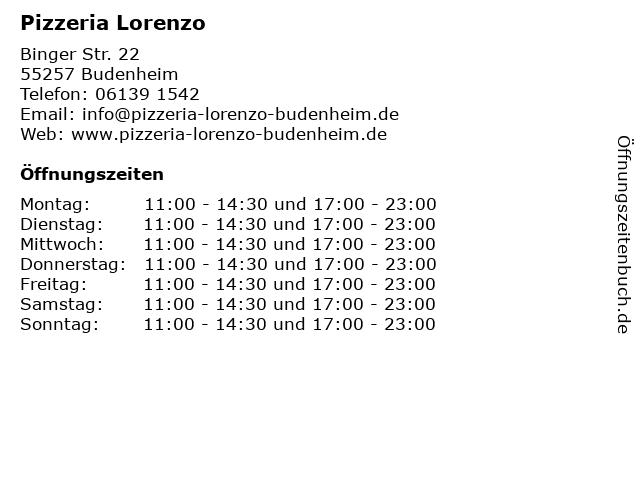 Pizzeria Lorenzo in Budenheim: Adresse und Öffnungszeiten