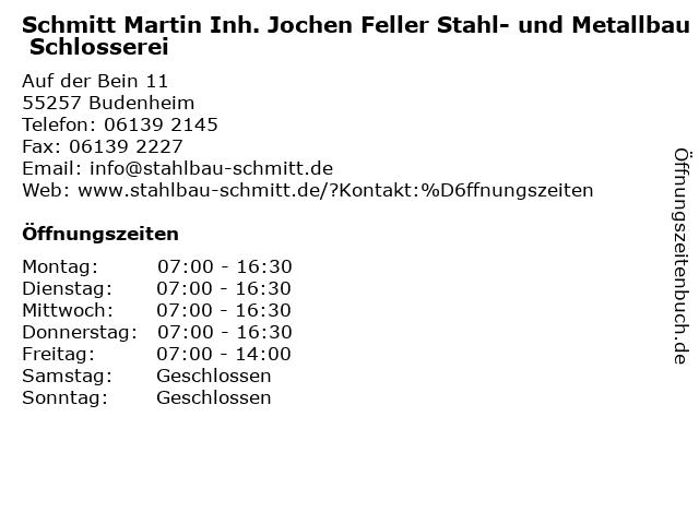 Schmitt Martin Inh. Jochen Feller Stahl- und Metallbau Schlosserei in Budenheim: Adresse und Öffnungszeiten
