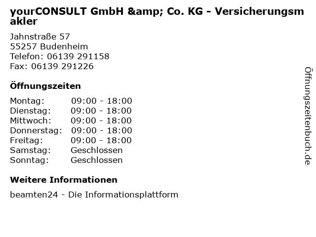 yourCONSULT GmbH & Co. KG - Versicherungsmakler in Budenheim: Adresse und Öffnungszeiten