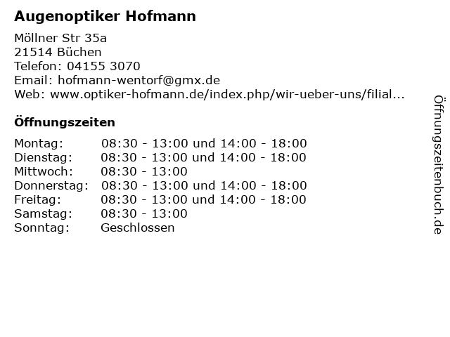 Augenoptiker Hofmann in Büchen: Adresse und Öffnungszeiten