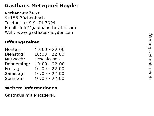 Gasthaus Metzgerei Heyder in Büchenbach: Adresse und Öffnungszeiten