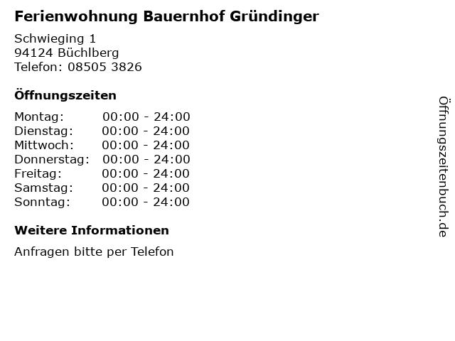 Ferienwohnung Bauernhof Gründinger in Büchlberg: Adresse und Öffnungszeiten