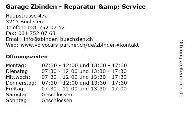 Garage Zbinden - Reparatur & Service in Büchslen: Adresse und Öffnungszeiten