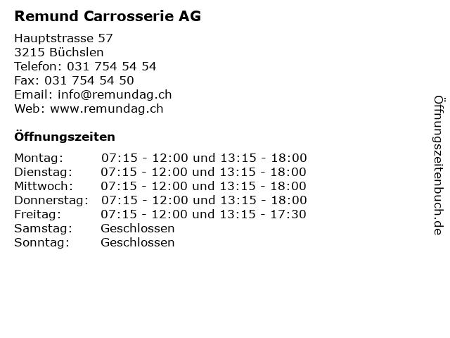 Remund Carrosserie AG in Büchslen: Adresse und Öffnungszeiten