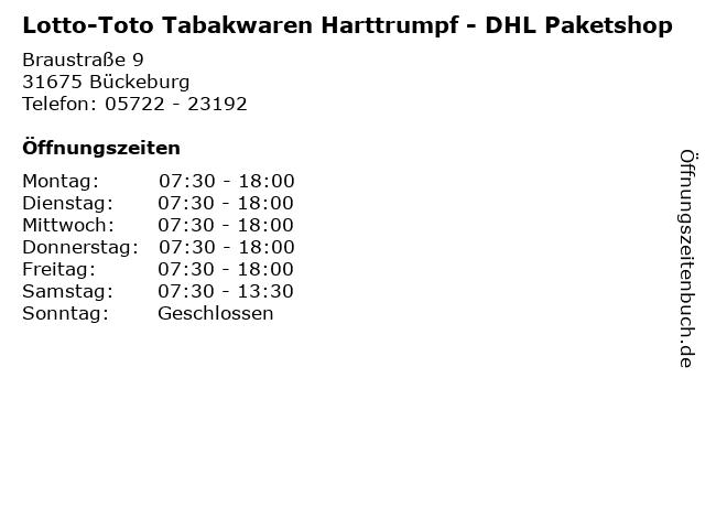 Lotto-Toto Tabakwaren Harttrumpf - DHL Paketshop in Bückeburg: Adresse und Öffnungszeiten