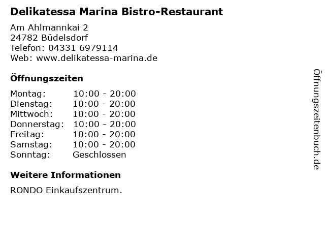 Delikatessa Marina Bistro-Restaurant in Büdelsdorf: Adresse und Öffnungszeiten
