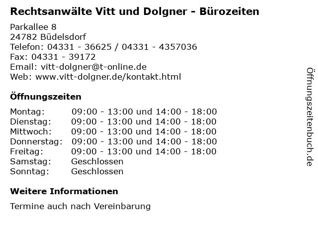 Rechtsanwälte Vitt und Dolgner - Bürozeiten in Büdelsdorf: Adresse und Öffnungszeiten