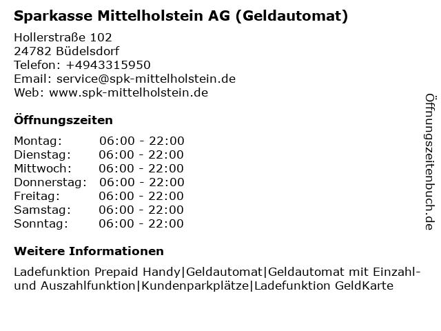 Sparkasse Mittelholstein AG - (Geldautomat Filiale) in Büdelsdorf: Adresse und Öffnungszeiten