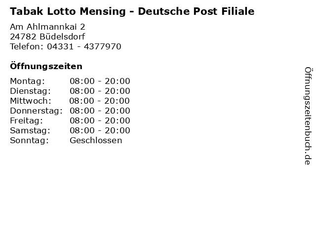 Tabak Lotto Mensing - Deutsche Post Filiale in Büdelsdorf: Adresse und Öffnungszeiten