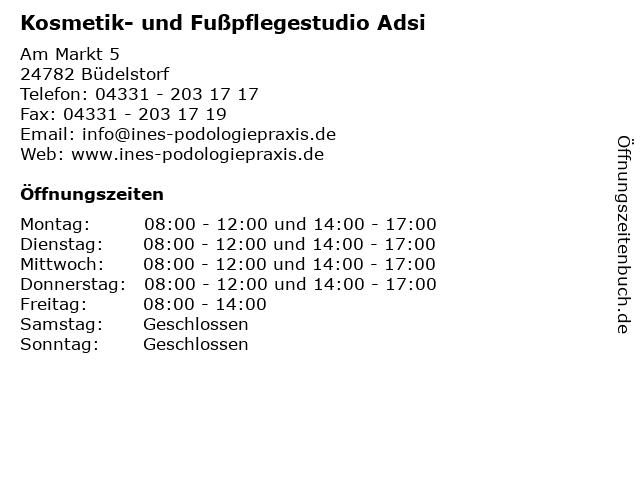 Kosmetik- und Fußpflegestudio Adsi in Büdelstorf: Adresse und Öffnungszeiten