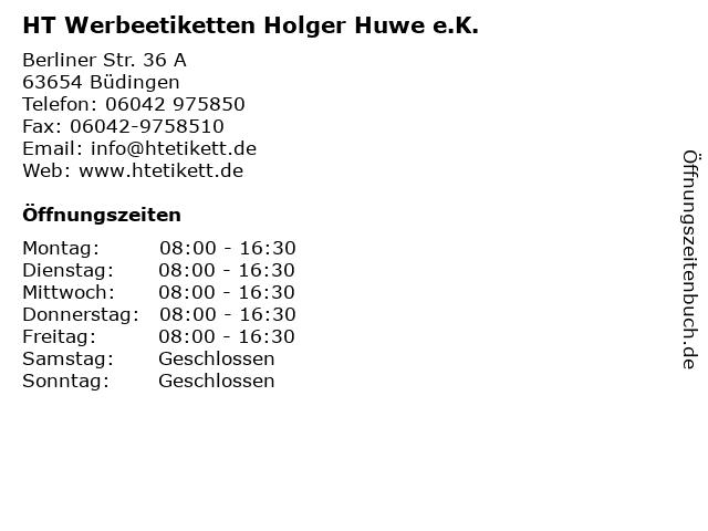 HT Werbeetiketten Holger Huwe e.K. in Büdingen: Adresse und Öffnungszeiten