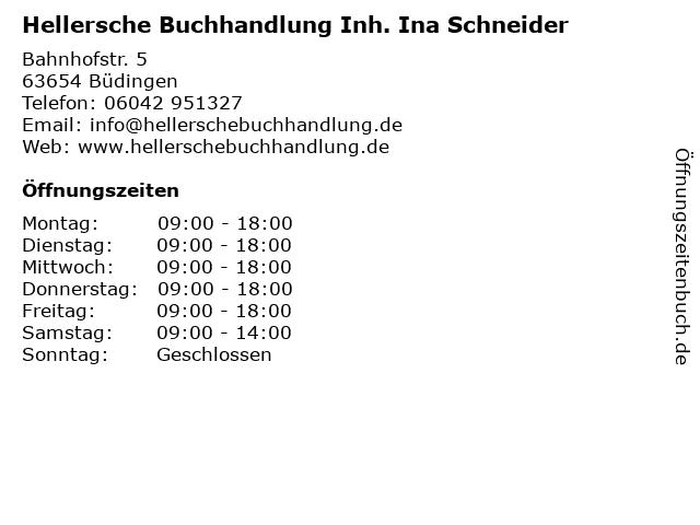 Hellersche Buchhandlung Inh. Ina Schneider in Büdingen: Adresse und Öffnungszeiten