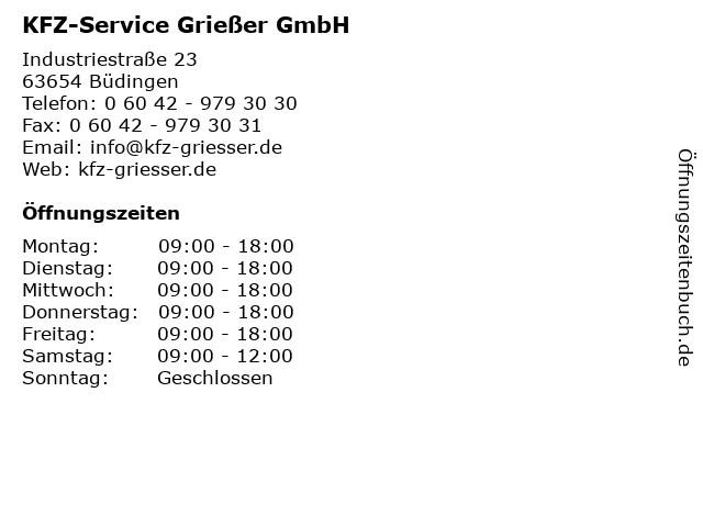 KFZ-Service Grießer GmbH in Büdingen: Adresse und Öffnungszeiten