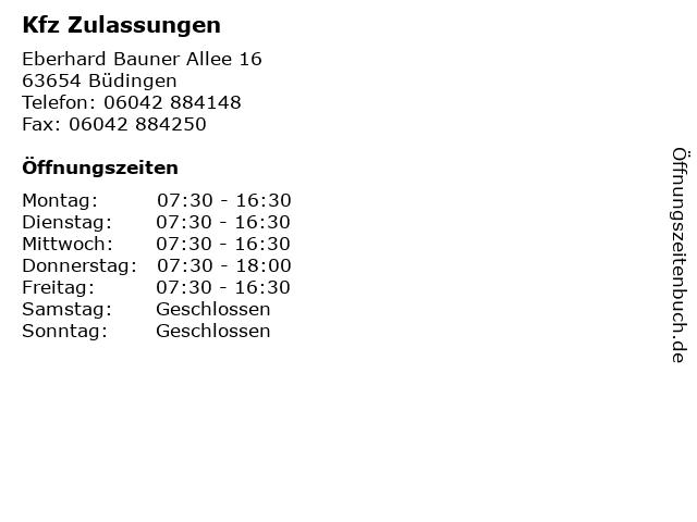 Kfz Zulassungen in Büdingen: Adresse und Öffnungszeiten