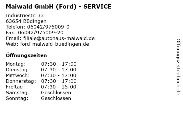 Maiwald GmbH (Ford) - SERVICE in Büdingen: Adresse und Öffnungszeiten