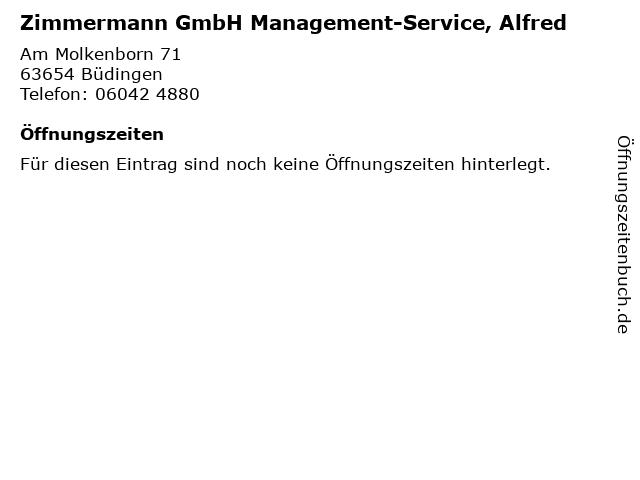 Zimmermann GmbH Management-Service, Alfred in Büdingen: Adresse und Öffnungszeiten