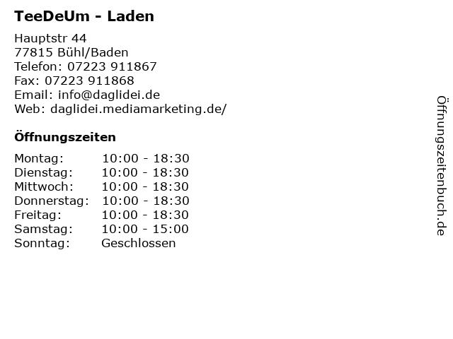 TeeDeUm - Laden in Bühl/Baden: Adresse und Öffnungszeiten