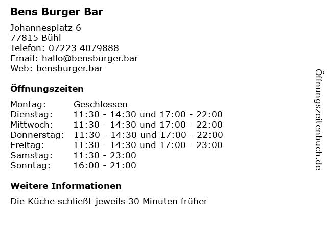 Bens Burger Bar in Bühl: Adresse und Öffnungszeiten