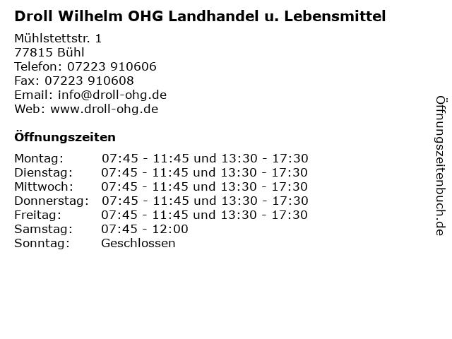 Droll Wilhelm OHG Landhandel u. Lebensmittel in Bühl: Adresse und Öffnungszeiten