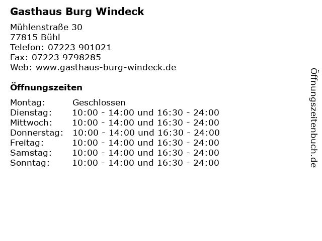 Gasthaus Burg Windeck in Bühl: Adresse und Öffnungszeiten