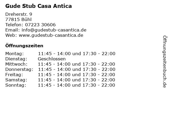 Gude Stub Casa Antica in Bühl: Adresse und Öffnungszeiten
