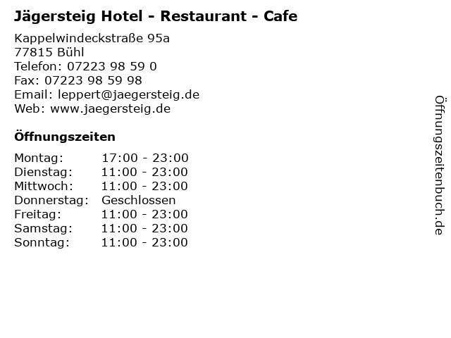 Jägersteig Hotel - Restaurant - Cafe in Bühl: Adresse und Öffnungszeiten